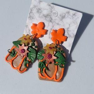 Clay Pumpkin Outline Earrings